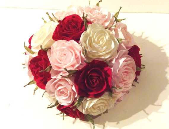 pink blush Centerpiece Crepe paper roses