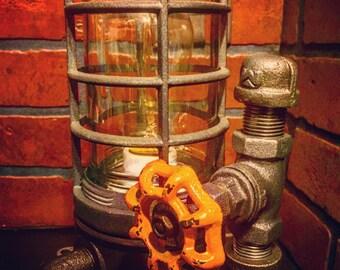 Steampunk Industrial Desk Lamp with Weather Orange handle