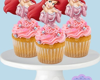 Disney Princess ARIEL, The Little Mermaid, Cupcake Toppers, Cupcake Picks INSTANT DOWNLOAD