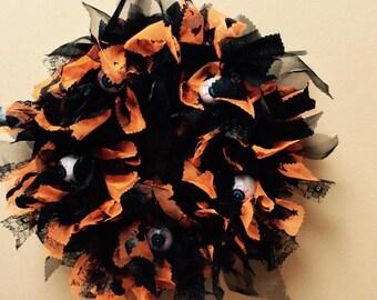Halloween Scary Eyeballs Rag Wreath