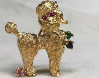Vintage 14kt. yellow gold French poodle pin
