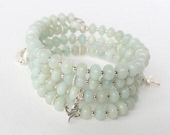 Amazonite bracelet, silver bracelet, memorywire bracelet, wrap bracelet, amazonite bracelet, charm bracelet.