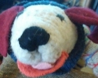 Recycled wool stuffed dog