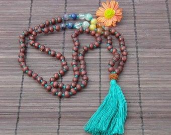 CHAKRA stones meditation rosewood mala necklace