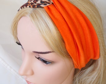 Leopard printed and orange bandeau Turban Twist headband Turban Headband Wide Head Wrap Turban Twist Yoga Headband Women's Hair Accessory