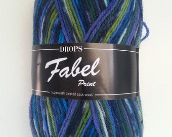 Drops Yarn Fabel - Green/Turquoise #677