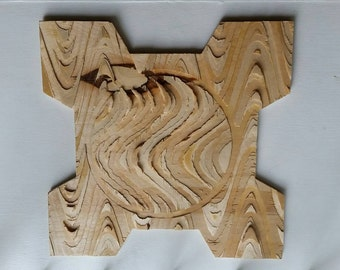 """Birch Carved Wall Hanging """"PWM"""""""