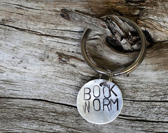 Book Worm Gift, Gift Avid Reader, Book Worm Key Chain, Reader Gifts, Gift for Reader, Book Lover Gift, Hand Stamped Keychain, Reading Gift