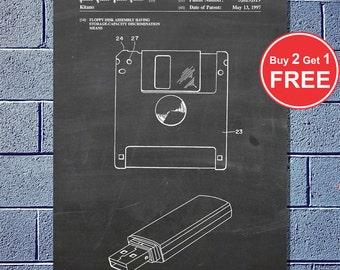 Patent Evolution - Floppy Disk, Vector Blueprint Patent Prints Posters, 3.5in Floppy Disc, 3 1/2 inch disk (#035)