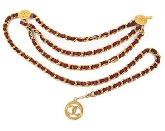 Vintage Chanel Signature Burgendy Chain Logo Signed Belt c. 1984
