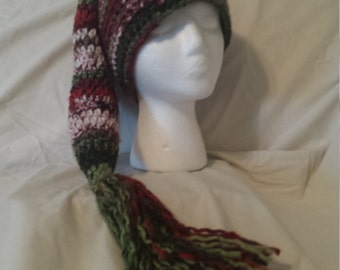 Elf Hat ~ Santa's Helper ~ Christmas Hat ~ Crochet Hat ~ Long Hat ~ Warm and whimsical Hat ~ Red & Green Hat ~ Pixie Hat