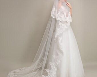 Cathedral Lace Bridal Veil, 1 Tier Bridal Veil, Drop Veil, White Wedding Lace Veil, Lace Bottom Veil