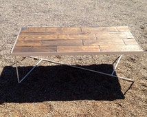 Steel Coffee table with Pine Wood Top