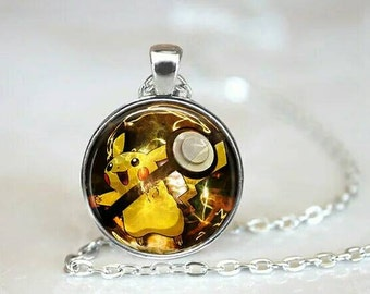 Pikachu inspired silver style pendant necklace