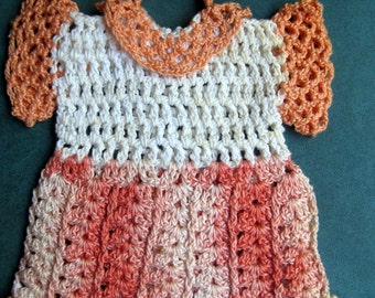 Vintage Pretty Hand Crochet Variegated Coral Pot Holder Dress with Collar