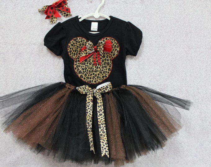 Minnie Mouse Inspired Girls Outfit,Personalized Minnie outfit,Custom boutique Animal print , Animal Kingdom outfit, Minnie Mouse tutu outfit