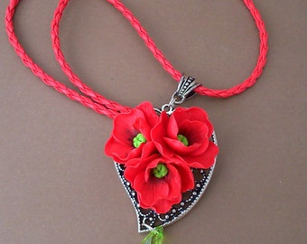 Red Poppy Necklace Flower necklace Floral jewelry Gift for her Red poppies Red necklace Flower Jewelry Summer necklace Handmade necklace