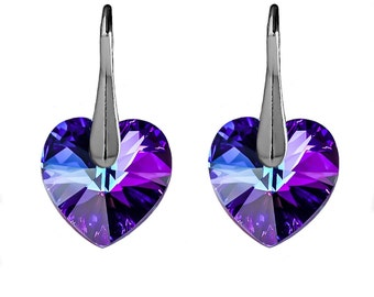 Sterling Silver Leverback Earrings Crystal Heliotrope Heart Crystals made with Genuine Swarovski Elements