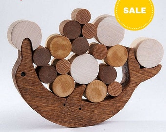 Wooden Balance Toy Dolphin Educational Toy for Toddlers Natural Wooden Balancer Game - Educational set - Handmade Kids Gift - Montessori Toy
