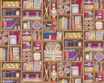 Makower Boxes Fabric from the Haberdashery Range 100% Cotton