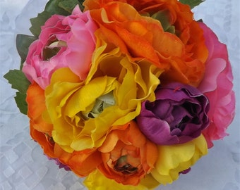 Bridal bouquet in multicolor ranunculus