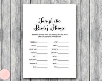 Finish the Bride's phrase game, Complete the phrase , Bridal shower game, Bridal shower activity, Printable Game TH000