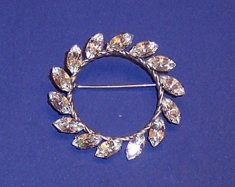 Vintage Mid-Century  A&Z STERLING Silver Clear Rhinestone Circular Pin Brooch