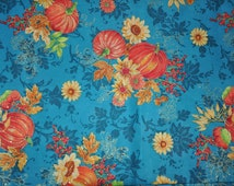 One Yard of Turquoise Harvest Pumpkins Fall Thanksgiving 100% Cotton Quilt Fabric by Fabric Traditions