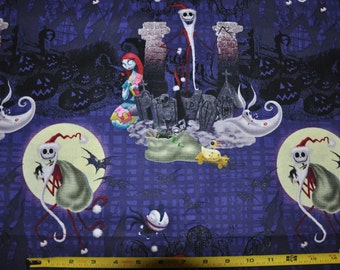 1/2 Yard of Nightmare Before Christmas Jack & Sally Gray 100% Cotton Quilt Fabric by Springs Creative