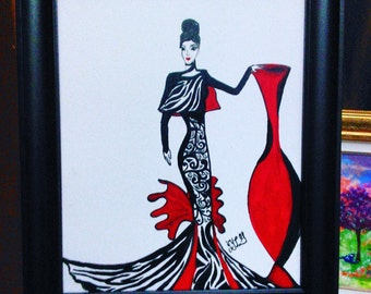 La dama. Original acrylic handmade painting in stretch canvas with frame.