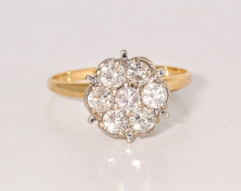 14K Yellow Gold .85ct Diamond Vintage Estate Engagement Ring      et21