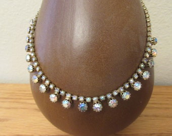 """Beautiful Vintage Crystal Necklace, iridescent blues,pinks,clear.  18"""" Wedding"""