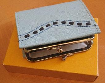 Buxton Blue Leather 60s/70s Retro Wallet Unused w/ Original Box