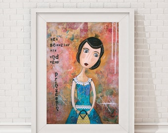 "Giclee Art Print - Giclee print - Print of the original painting ""Ich schmeiss' hin"" -  Portrait of a woman - Princess"