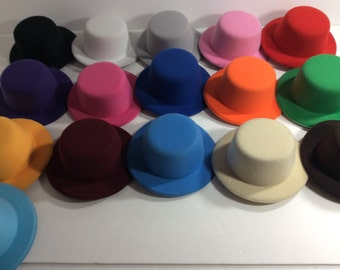 "Mini Top Hat Base 5"", rounded top, set of 5, craft party, DIY, fascinator Hat, Headband Hair Bow Making with alligator  clips, set of 5"