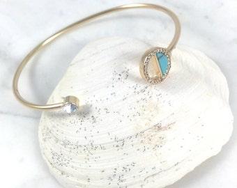 Turquoise Bracelet//Cuff Bracelet//Clear CZ//Yellow Gold//Shinny
