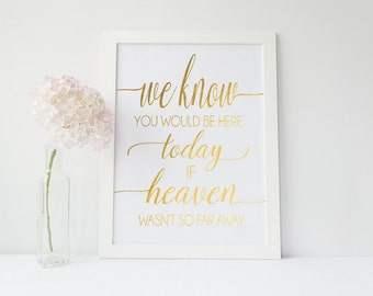 Real Gold Foil In Memory Wedding Print - Heaven Wasn't So Far Away Color Foil Sign - Wedding Ceremony Prints (ID81)
