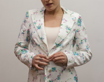 Vintage White Blazer with Blue and Pink Floral Design