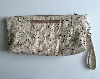 9.000 HUF Ivory leather clutch, handbag, lasercut leather