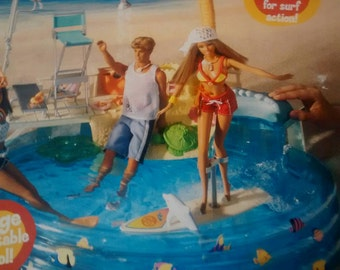VERY RARE never used Vintage Barbie boxed pool by Mattel pool wave maker shower biggest barbie pool made 17 inches across collectors toy