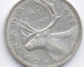 Canadian 25-Cents Silver 1948