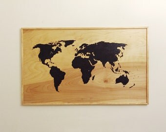 Handcrafted Wood-burned World Map