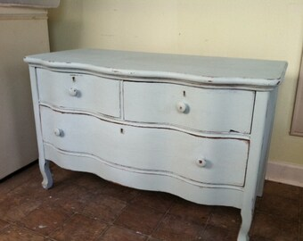 antique dresser, distressed duck egg blue not Annie Sloan chalk paint, refurbished, wood,42 w x  26 H   x  22 d,