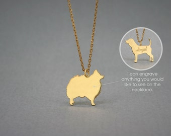 14K Solid GOLD Tiny POMERANIAN Name Necklace - Pomeranian Necklace - Gold Dog Necklace - 14K Gold or Rose Plated on 14k Gold Necklace