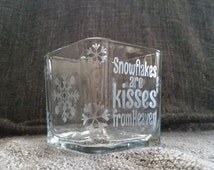 Memorial Candleholder - Etched Glass Candleholder - Square