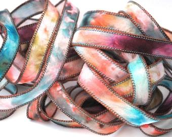 Hand dyed silk ribbon habotai tie dye