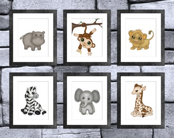 Jungle Baby Animal Print Set of 6