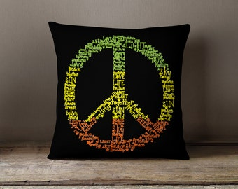 """Peace Sign Pillow - """"Words of Peace"""" Pillow Case"""