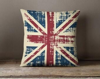 Union Jack Pillow | Industrial Pillow | British Flag Pillow | Vintage Pillow | Union Jack Cushion | Union Jack Decor | British Pillow