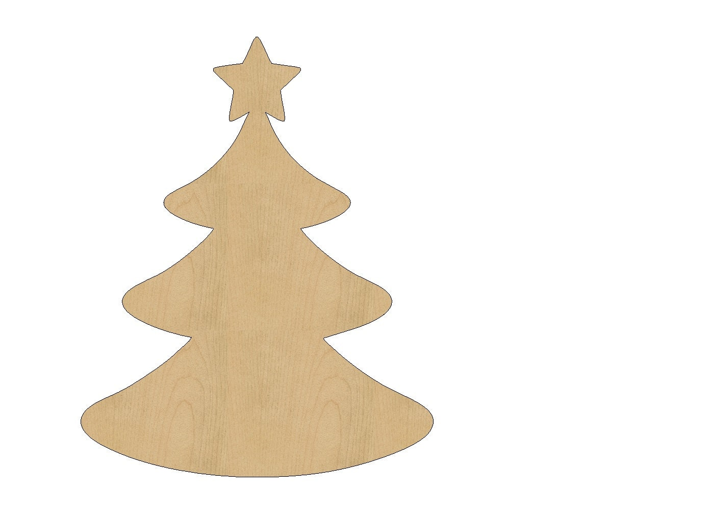 Christmas tree cutout shape laser cut unfinished wood for Wooden christmas cutouts